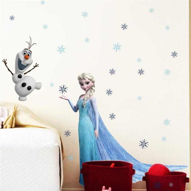 Hot sell elsa movie wall stickers for kids rooms home decoration diy pvc cartoon film decal girl boy gift 3d mural art