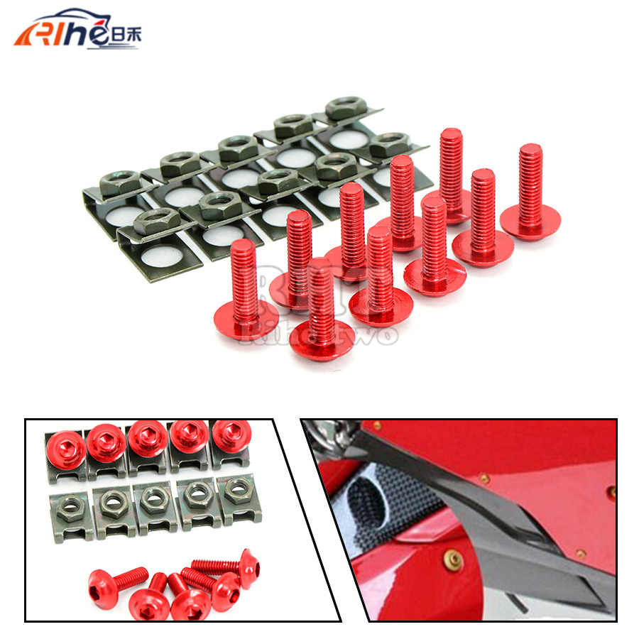 10X 6mm Motorcycle Fairing Body Bolts Spire Speed Fastener Clips Screw Spring Bolots Nuts Bolts for honda vfr 800 KTM ducati