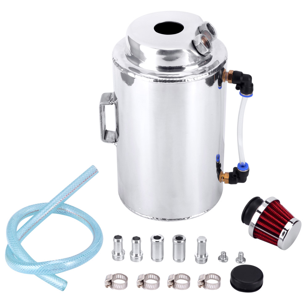 2L UNIVERSAL ALUMINIUM ALLOY OIL CATCH CAN TANK WITH BREATHER FILTER