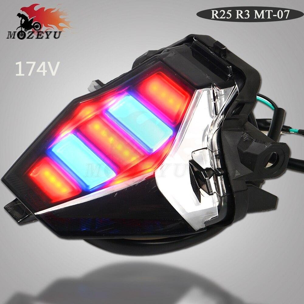 Pour YAMAHA YZF R25 R3 YZF-R25 YZF-R3 MT-07 MT07 YZFR3 MT 07 Moto LED Intégré Feu arrière clignotants Clignotant lampe 174 v