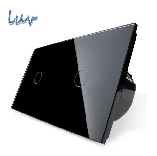 EU Standard, Pearl Black, Touch Screen Control, Wall Switch, Tempered Glass Panel, Light Wall Home Switch, VL-C701-12/VL-C701-12