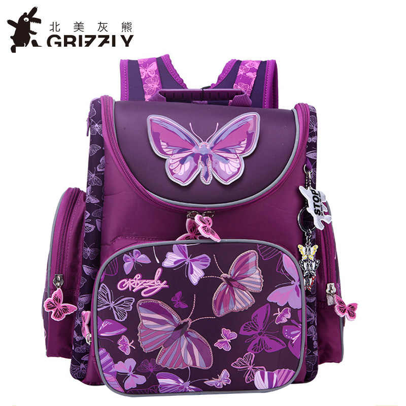 Grizzly New School Bags Orthopedic Backpacks for Children Cartoon Animal  Butterfly Prints High Quality Waterproof nylon 7825fe29218a5