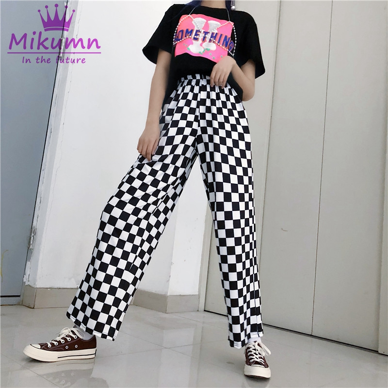 Harajuku Plaid Checkerboard Women   Pants   Elastic Waist Casual Loose   Wide     Leg     Pants