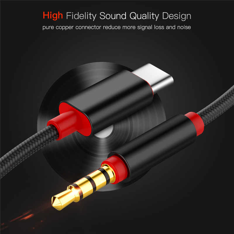 Type C Audio Cable USB Type-C male to 3.5mm Jack male Car AUX Audio Adapter USB-C Cable  for Samsung Letv 2 2pro max