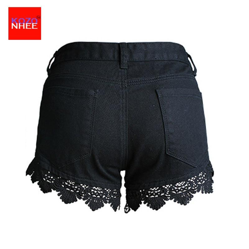 Aliexpress.com : Buy Lace Hollow Black Denim Shorts Women Ripped ...