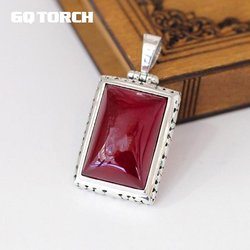 GQTORCH 925 Sterling Silver Red Ruby Pendants For Women Natural Gemstone Hollow Flower Carving Vintage Ladies Fine Jewelry цена 2017