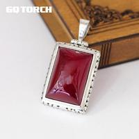 GQTORCH 925 Sterling Silver Red Ruby Pendants For Women Natural Gemstone Hollow Flower Carving Vintage Ladies Fine Jewelry
