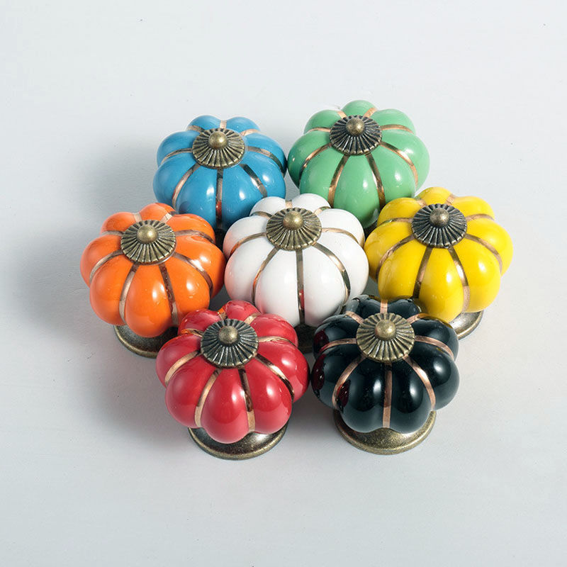 High Quality Lovely Cute Rural Ceramic and zinc Alloy Drawer Cabinet Cupboard Door Knob Furniture Handle