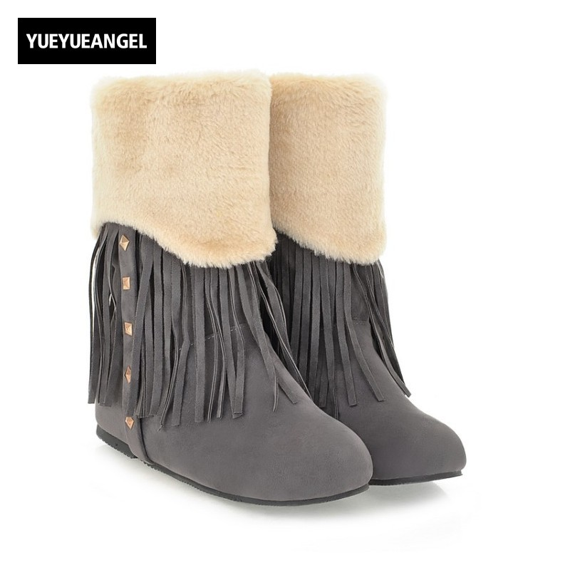 Lovely Fur Trim Womens Snow Boots Tassels Rivet Design Ankle Boots Lady Faux Suede Warm Winter Shoes Hidden Heel Female Footwear