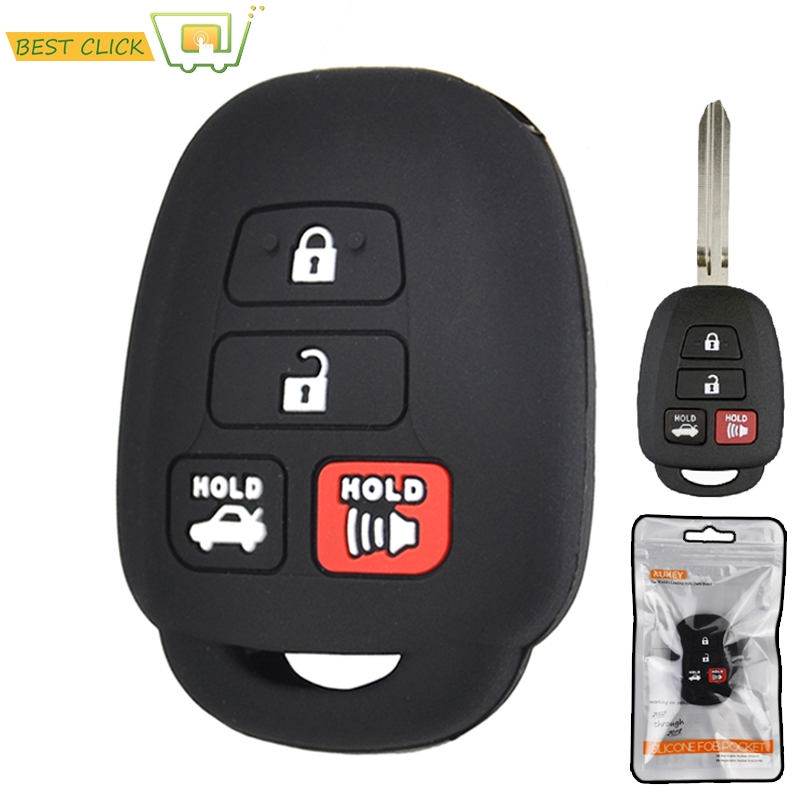 2Pcs Silicone Car Key Cover Remote Fob Case For Toyota Camry Corolla RAV4 Vios Prius C Highlander Yaris Tacoma Sequoia Tundra for Scion iQ tC xB xD 2017 2018 2019 2020 Shell Jacket Protector 4 Button