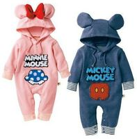 Autumn Cartoon Baby Rompers Long Sleeve Hooded Cotton Baby Jumpsuits Toddler Kids Costumes Cute Bowknot Baby