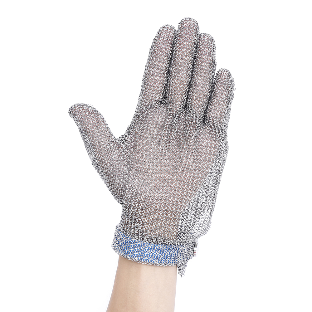 Metal Mesh Butcher Gloves Plastic Belt Stainless Steel Mesh Glove Cut Resistant Kitchen Chain Mail Protective Anti-Cutting Glove