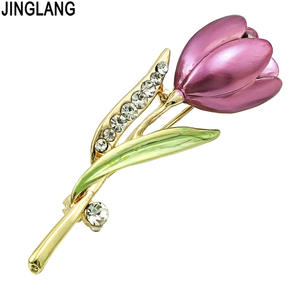 JINGLANG Fashion Gold Color Brooches Pins Rhinestone Purple Tulip Flower Brooches For Women Wedding Decoration Jewelry Gifts