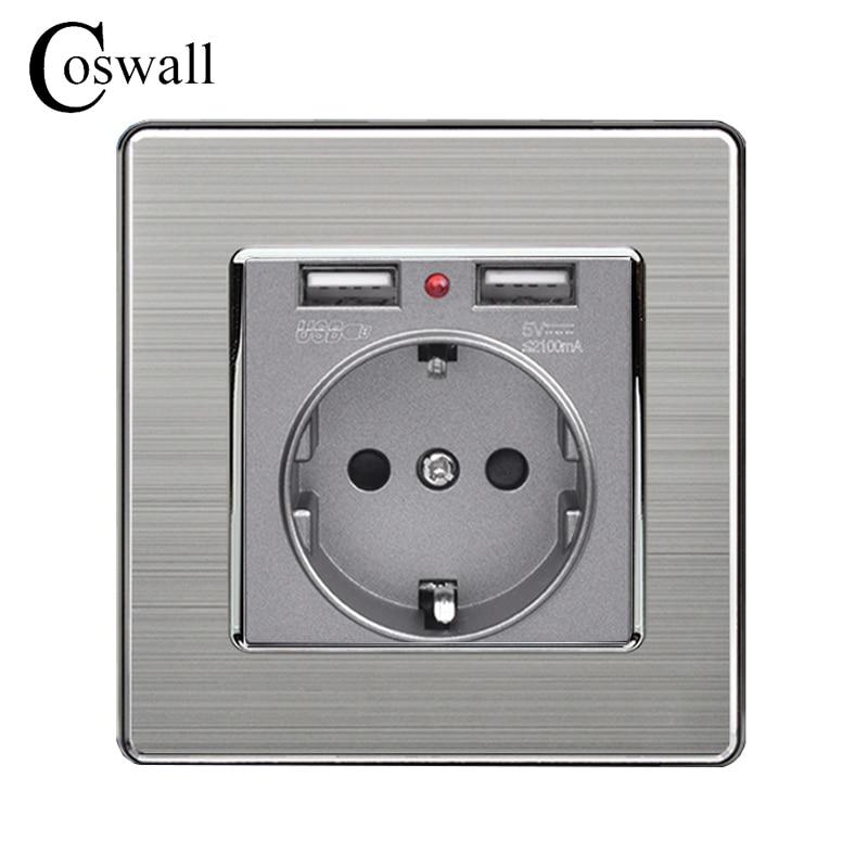 Coswall puerto de carga USB Dual 5 V 2.1A indicador LED 16A pared EU toma de corriente salida Panel de acero inoxidable gris negro blanco dorado