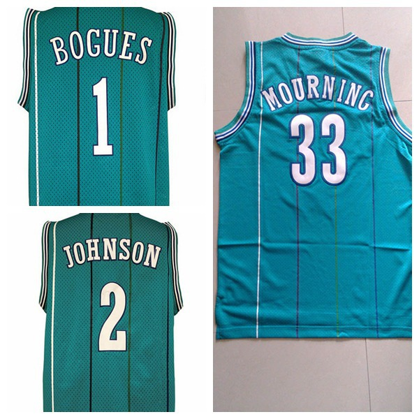 450f9b8be Charlotte Tyrone  1 Muggsy Bogues Jersey  2 Larry Johnson Throwback  Basketball Jerseys 33 Alonzo Mourning basket jersey