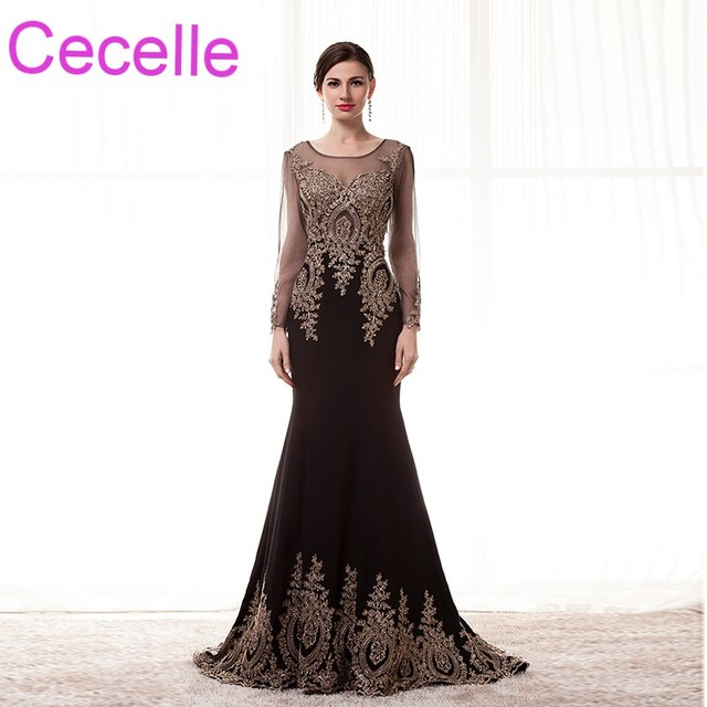 c1632ff5f8a Black Mermaid Long Evening Dresses 2019 With Long Sleeves Women Formal  Evening Wear Sparkly Night Wear Real Photos Custom Made