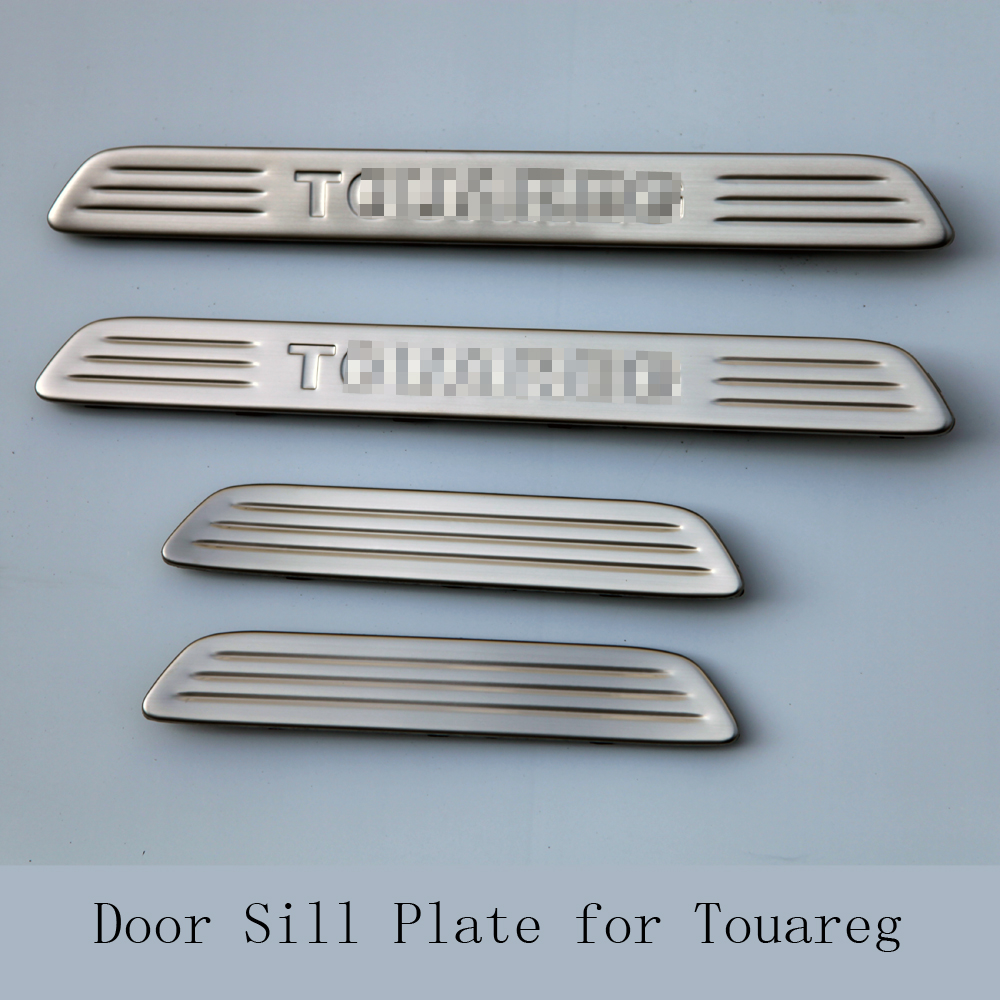 High quality stainless steel accessories Car Door Sill Scuff Plate Guards Sills Trim 4pcs for VW TOUAREG 2011 2012 2013 2014 free shipping 2011 2012 kia rio k2 4dr high quality stainless steel window trim strip down a set of 4pcs