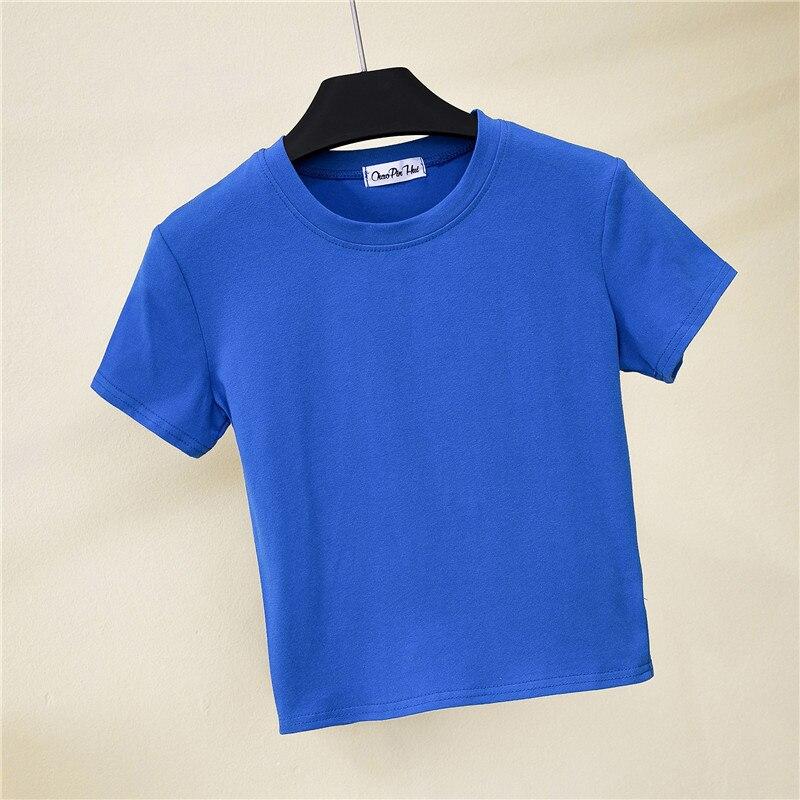 Crop koszulka top kobieta trwała bawełna O-Neck z krótkim rękawem t-shirty dla kobiet wysoka talia szczupła krótka, sportowa koszulka Blanc Femme 6