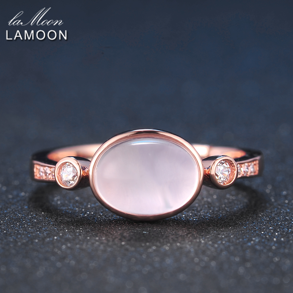 LAMOON 925 Sterling Silver Ring For Women Rose Quartz Gemston Rings 18K Rose Gold Plated Simple Style Fine Jewelry LMRI014