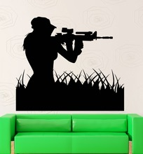 Fuerza aérea Mujer Soldado Francotirador Wall Sticker Art Design Home Salón Creativo Mural Chica Francotirador Silueta Decal M-66
