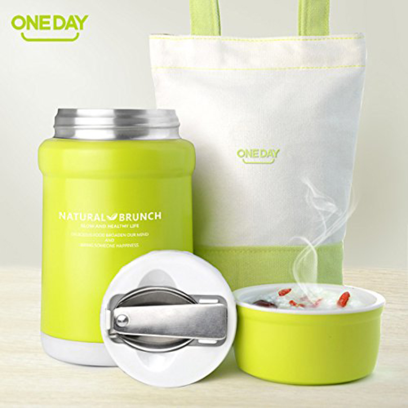 ONEDAY SB90002 450ml Vacuum Food Container Insulated Soup Kettle Vacuum Flask With Bag Insulation Thermal Bento