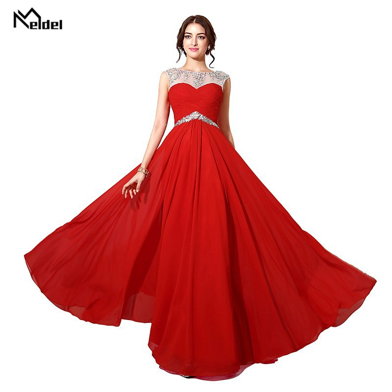 2019 Fashion Red Long Evening Dress Red A Line Glitter Elegant Women's Evening Dresses Plus Size Send Flower Wrist