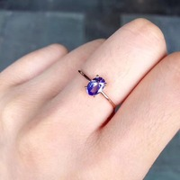 gemstone natural tanzanite ring 18K rose gold simple style fine women & girl jewelry free shipping purple color