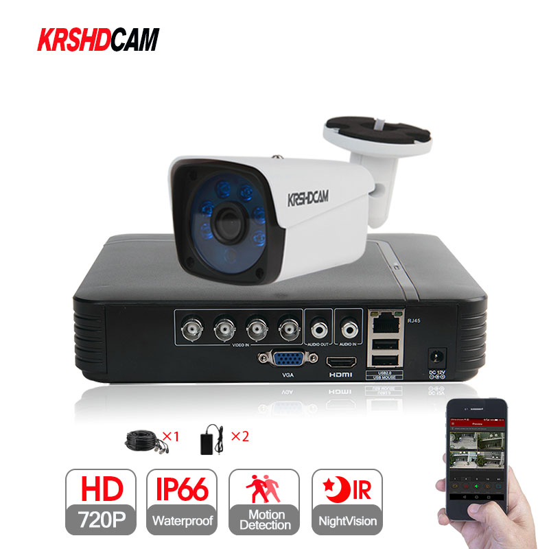 KRSHDCAM 4CH AHD DVR Security CCTV System 30M IR 1PCS 720P CCTV Camera system Outdoor Waterproof Home Video Surveillance Kit