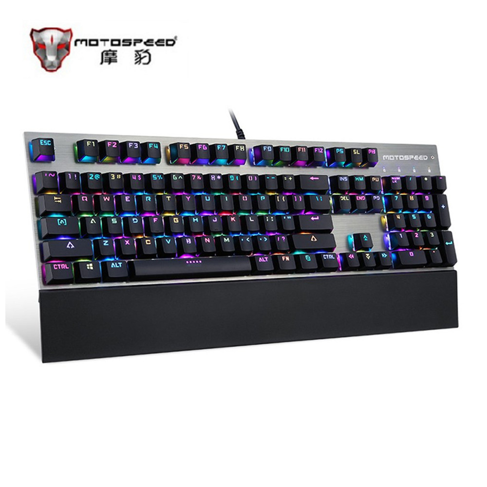 Motospeed 104 Keys Mechanical Keyboard Ergonomic Design Black RGB Gaming Keyboard With Backlight For PC Computer Gamer Free Ship rainbow gaming backlight keyboard 87 keys colorful mechanical keyboard with blue black switches desktop for pc laptop