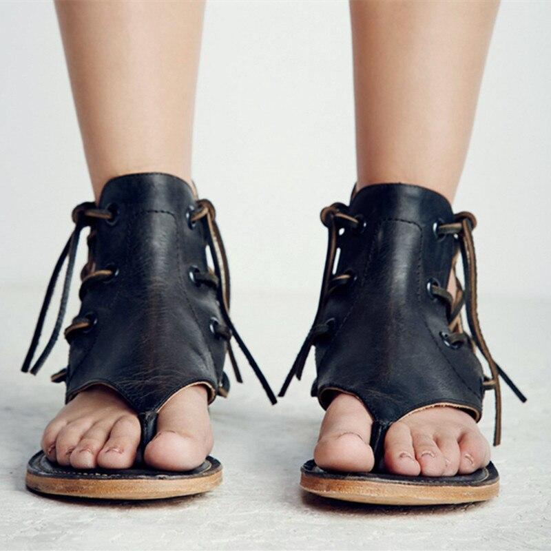 Cuir Black Plates Chaussures Lace Side Brown Prova light Sandales De En Gladiateur Véritable Femme Vache Tongs Conception Neutre Perfetto Rétro Mode Up Style qqP4aRn