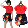 New Family Matching Clothes Applique Summer Mother Daughter Clothing Women T-shirt and Skirts Girls Skirt Suit 2pcs Set tyh20796