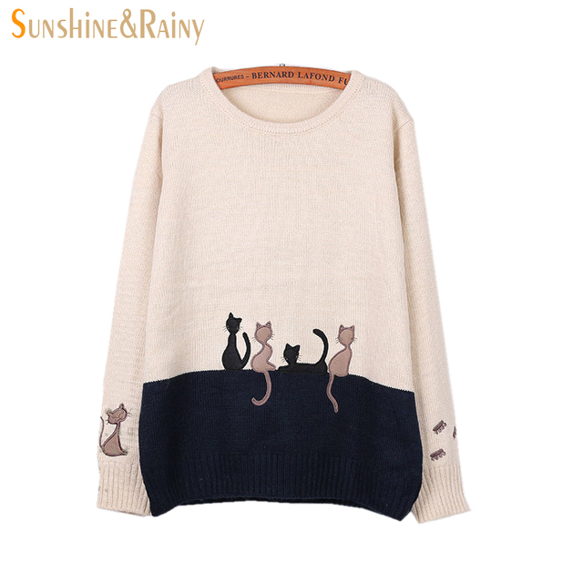 2016 Autumn Winter Women Long Sleeve cat embroidery Splice Casual ...