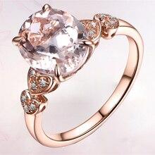 Anillo de piedra de circonia cúbica grande y brillante de champaña grande con un solo óvalo, cristal naranja cortado, anillo de lujo, joyería de Color dorado para mujer