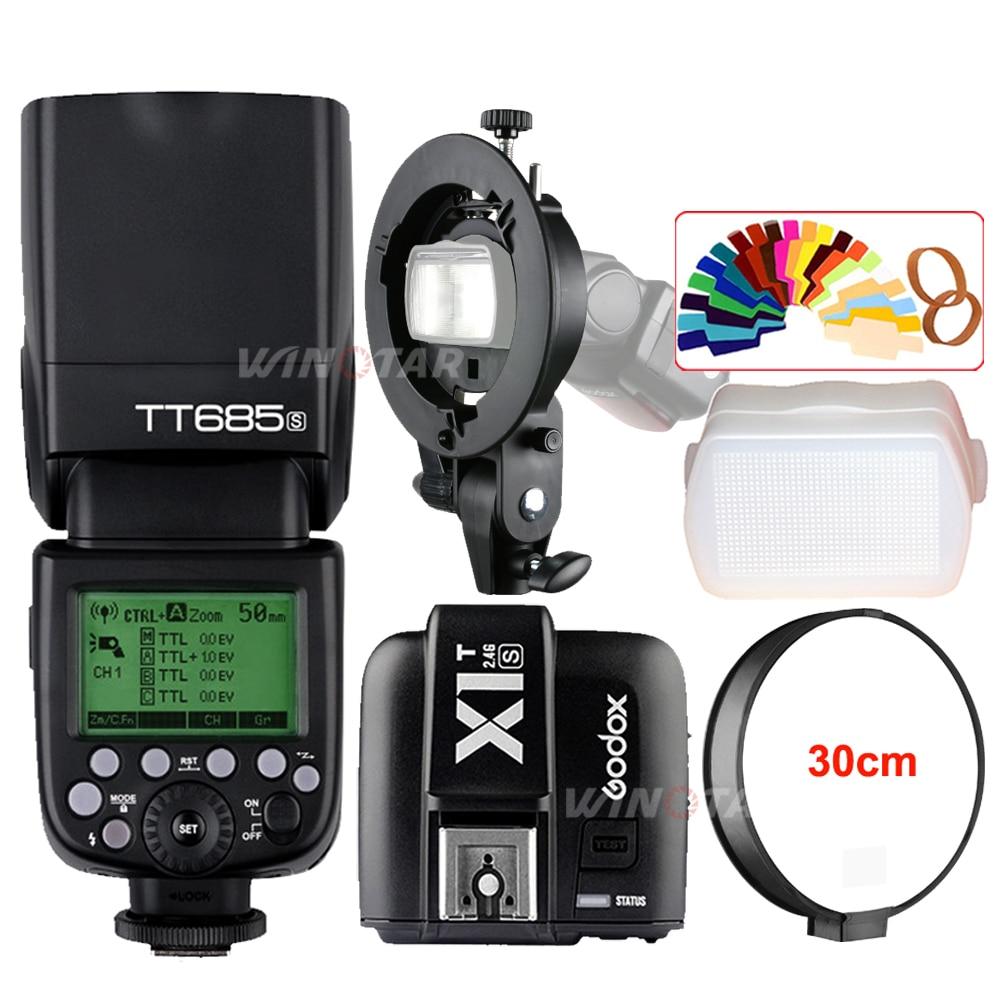 Godox TT685S 2.4G HSS TTL Camera Flash + X1T-S Trigger + Bowens Bracket for Sony A77II A7RII A7R A99 A58 A6500 A6000 A6300 godox x1t s ttl 2 4g wireless trigger transmitter for sony dslr cameras with mi shoe a77ii a7rii a7r a58 a99 ilce6000l