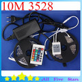 10M 3528 RGB LED Strip Set with 24Key IR Controller 12V 5A Adapter 3528 Flexible RGB LED  Strip Light Set Free Shipping