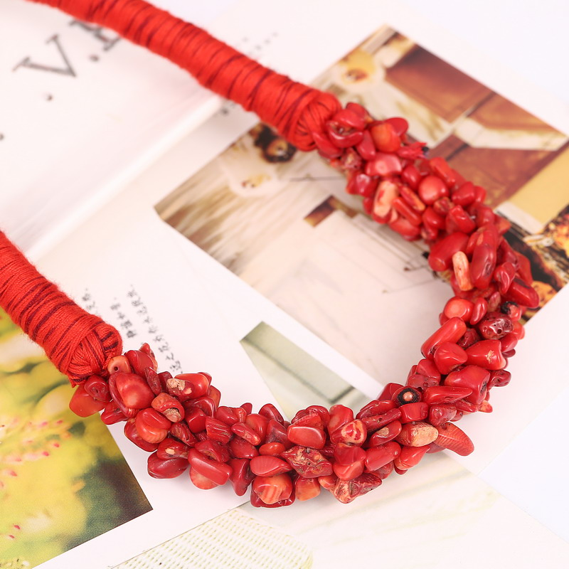 New Bohemia Statement Choker Fashion Charms 100% Natural Coral Stone Gem Collar Necklaces&Pendants Women Fine Jewelry