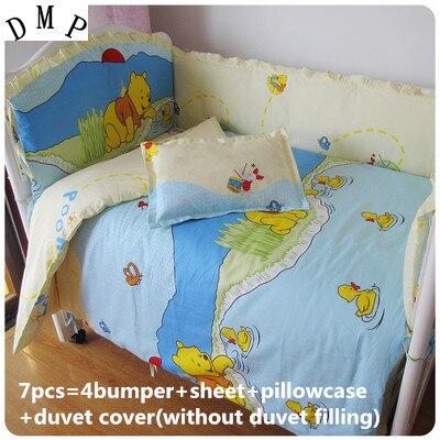 6/7pcs 100% Cotton Baby Bedding Sets Girls Crib Bed Kit ,baby Cot Bedding Sets,bedlinen,120*60/120*70cm