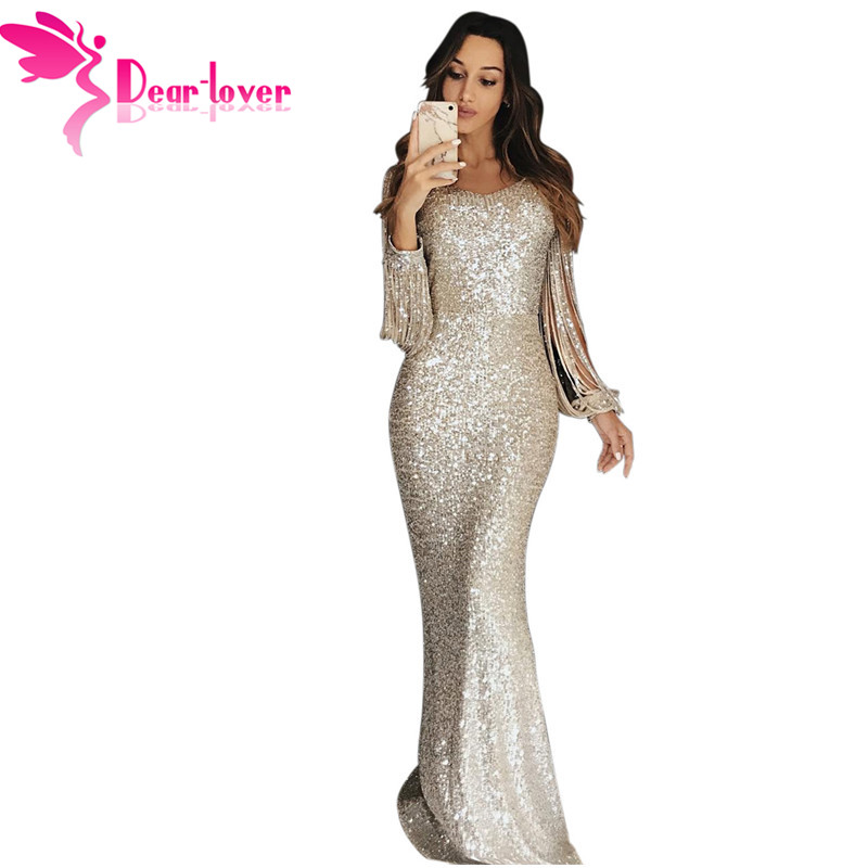 Dear Lover Sexy Sequin Dress Party Women Sexy Bodycon Nude Hollow Out Long Sleeve Maxi Dress