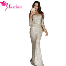 Dear Lover Sexy Sequin Dress Party Women Sexy Bodycon Nude Hollow Out Long  Sleeve Maxi Dress 416767c33be7