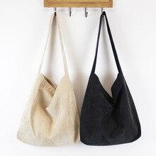 Femmes velours côtelé sac à bandoulière toile tissu tissu sac à main solide décontracté fourre tout dames Eco sacs à provisions collège étudiants livres sac