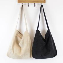 Women Corduroy Shoulder Bag Canvas Cloth Fabric Handbag Solid Casual Tote Ladies Eco Shopping Bags College Students Books Bag