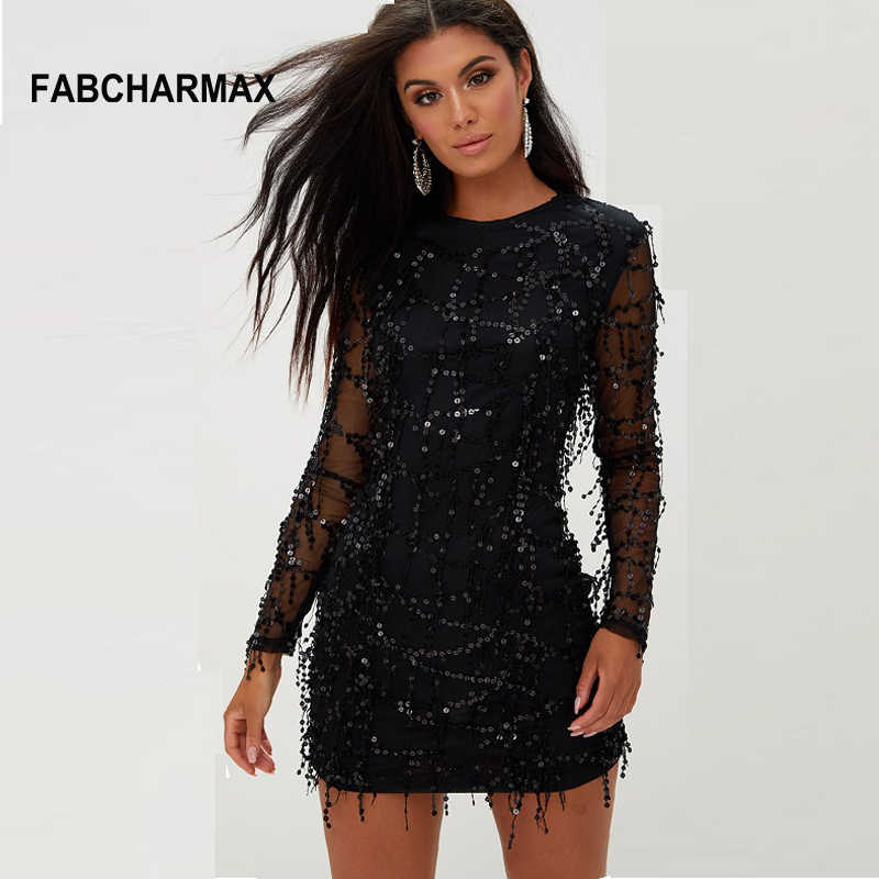 Womens Tassels Sequin Black Dress Autumn Long Sleeve O Neck Party Club Mini Dress  Patchwork Mesh eab925439d7a