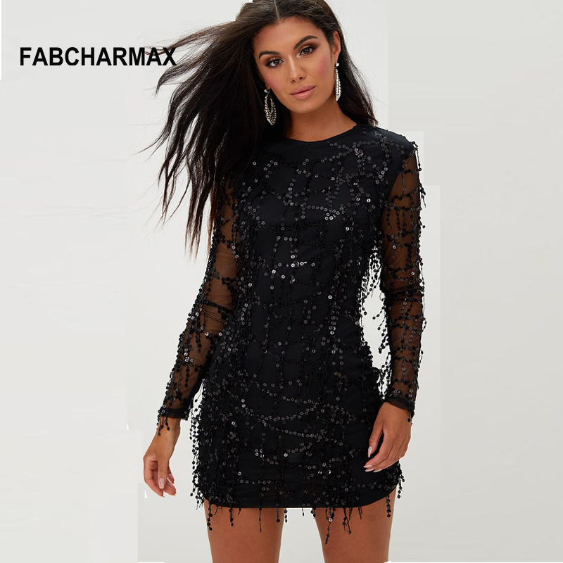 c5d6a9d1e9f24 Womens Tassels Sequin Black Dress Autumn Long Sleeve O Neck Party Club Mini Dress  Patchwork Mesh Sexy Bodycon Dresses Vestidos-in Dresses from Women's ...