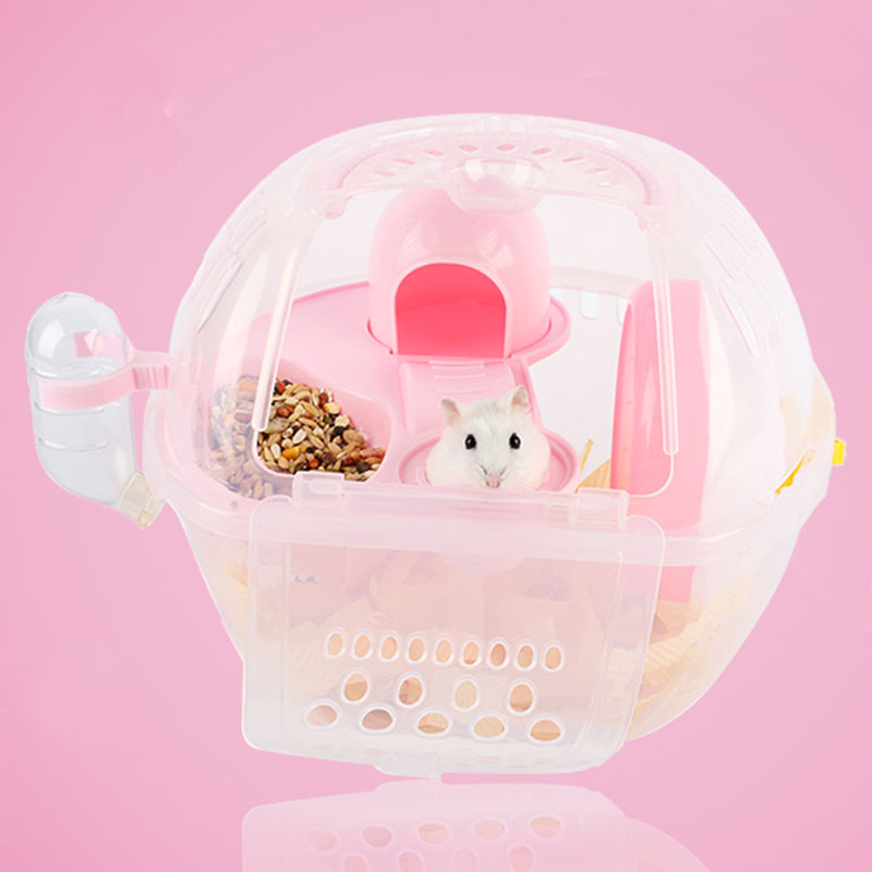 1 Set luxury 29*23*23cm Plastic Transparent Hamster Cage Villa Travel House Portable Carrying Small Pet Carrier Amusement Park