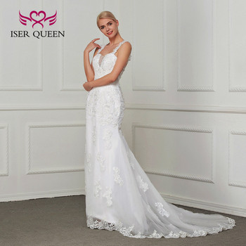 Elegant Backless Embroidery Mermaid Wedding Dresses Court Train Sleeveless Beautiful Wedding Gown Bride Dress  W0001