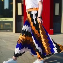 Versión coreana de gama alta patrón geométrico Falda plisada Mujer 2018  verano moda nueva Alta cintura 1680b9e8246e