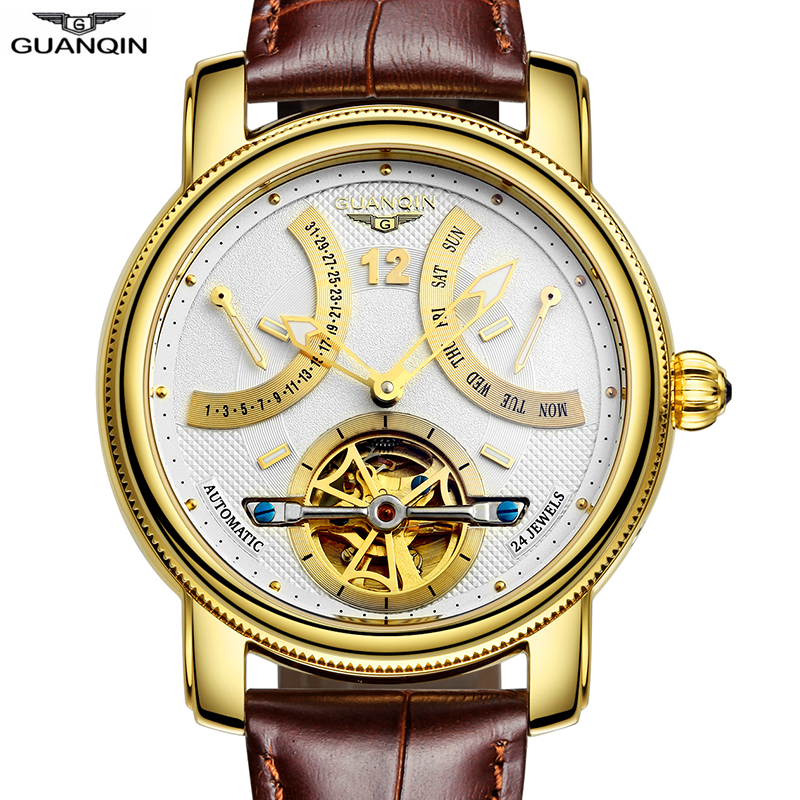 GUANQIN 2018 reloj automático Tourbillon reloj de lujo de marca de oro impermeable para hombre reloj mecánico 316L reloj de pulsera de acero inoxidable-in Relojes mecánicos from Relojes de pulsera    1