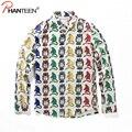 Phanteen hombre otoño primavera camisas de dibujos animados mono graffiti 3d impreso camisetas casual camisetas de manga larga moda men clothing