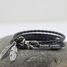 LOW0172LB Fashion Jewelry PU Leather Charm Friendship Bracelets & Bangles Feather Accessories Wedding Men Jewelry Free Shipping
