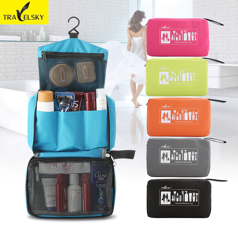 Travelsky Women Waterproof Portable Travel Cosmetic Bag hanging organizer for cosmetics travel Toilet bag 6 Colors Storage bags